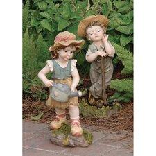 2 Piece Fanny & Frank Farmer Statue