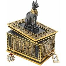 Royal Bastet Egyptian Box in Gold and Ebony (Set of 2)