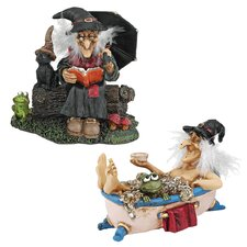 Bewitching Witches Book of Spells and Cauldron of Beauty Statue
