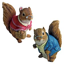Grandparent Squirrel Garden Statue (Set of 2)