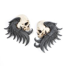 2 Piece Bad to the Bones Winged Skull Sentinel Wall Décor Set
