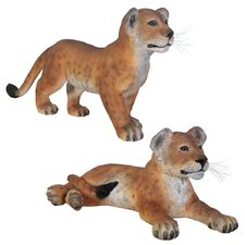 Grand-Scale Lion Cub Statue (Set of 2)