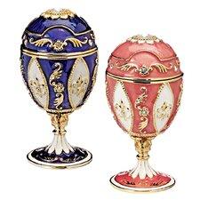 Royal French Faberge-Style Enameled Eggs (Set of 2)