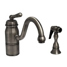Beluga One Handle Single Hole Kitchen Faucet with Straight Handle and Side Spray