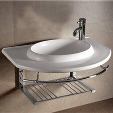 Isabella Large U-Shaped Bowl Bathroom Sink with Chrome Shelf and Towel Bar