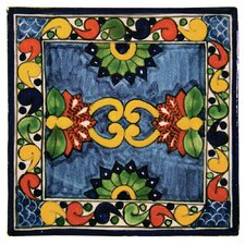 "4"" x 4"" Asters Hand Painted Talavera Tile"