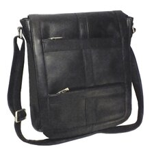 "Genuine Leather 16"" Vertical Laptop Messenger Bag"