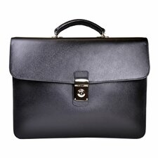 Saffiano Genuine Leather Double Gusset Briefcase
