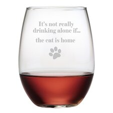 The Cat is Home 19 Oz. Stemless Wine Glass