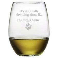 The Dog is Home 19 Oz. Stemless Wine Glass