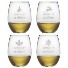 Drink Up Be Merry Stemless Wine Glass (Set of 4)