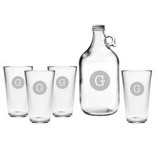 Typewriter Monogram 5 Piece Growler & Pint Glass Set
