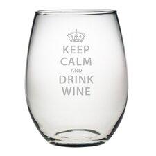 Keep Calm & Drink Wine Stemless 21 Oz. Wine Glass (Set of 4)