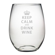 Keep Calm & Drink Wine Stemless Wine Glass (Set of 4)