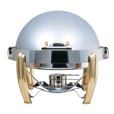 Medium Odin Round Roll Top Chafing Dish with Brass Plated Legs and Spoon Holder