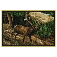 Wildlife Elk Roaming Brown Novelty Outdoor Area Rug