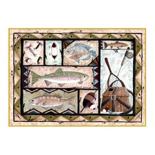 Wildlife Fishing Novelty Outdoor Area Rug