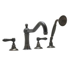 Rohl A1404LM Country Bath Roman Tub Faucet with Single Function Hand Shower and Metal Lever Handles