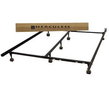Hercules Universal Heavy Duty Adjustable Metal Bed Frame with Double Rail Center Bar and 7-Locking Rug Rollers