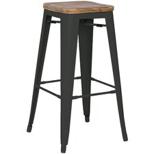 Metropolis Metal Backless Counter Stool with Wood Seat (Set of 4)