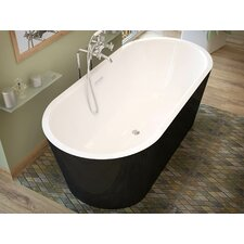 "Little Key 67"" x 32"" Freestanding One Piece Soaking Bathtub with Center Drain"
