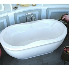"Vivara 71"" x 34"" Oval Freestanding Air Jetted Bathtub with Center Drain"