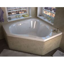 "Tobago 60"" x 60"" Corner Whirlpool Jetted Bathtub with Center Drain"