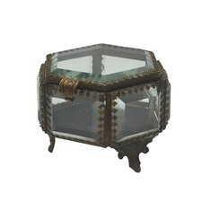 "Fall 3.8"" Iron and Glass Hex Jewelry Box"