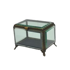 "Fall 5.3"" Iron and Glass Rectangle Jewelry Box"