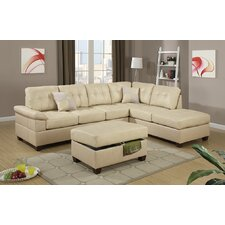 Bobkona Randel Leather Reversible Chaise Sectional