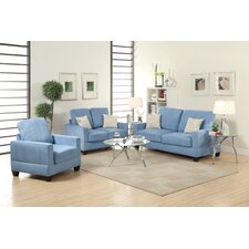 Bobkona Madison 3 Piece Sofa and Loveseat with Chair Set