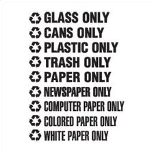 """Recyclable Waste White Decals (1.75""""H x 13.5""""W) (Set of 150)"""