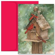 Masterpiece Studios Birdhouse and Cardinals Boxed Holiday Card