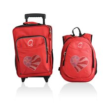 2 Piece Flag Heart Kids Luggage and Backpack Set