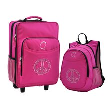 2 Piece Bling Rhinestone Peace Kids Luggage and Backpack Set