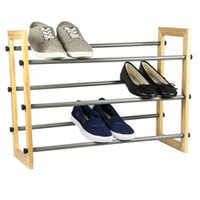 3 Tier Expandable Shoe Rack with Wood Panel