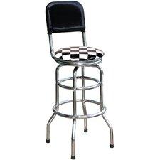 "Checker Flag 30.5"" Swivel Bar Stool with Cushion"