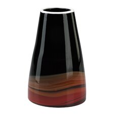 Large Swirl Vase in Black and Red