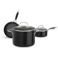 Aluminum Nonstick 3 Piece Cookware Set in Onyx Black