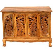 "Handmade Acacia 39"" Oriental Dragons Storage Sideboard Buffet"