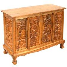 "Handmade Acacia 39"" Royal Elephant Storage Sideboard Buffet"