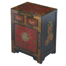 Handmade Oriental Antique Style Black Bonded Leather End Table With Nature Motifs