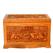 "Handmade 23"" Exotic Elephant Design Wood Coffee Table"