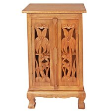 "Handmade Acacia 32"" Coconut Palm Storage Cabinet / End Table"