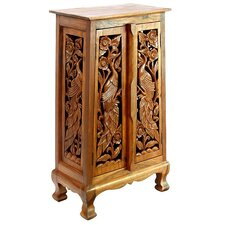 "Handmade Acacia 40"" Exotic Peacocks Storage Cabinet / End Table"