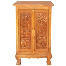 "Handmade Acacia 32"" Royal Elephant Storage Cabinet / End Table"