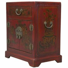 Handmade Oriental Antique Tang Dynasty Style Red Bonded Leather End Table