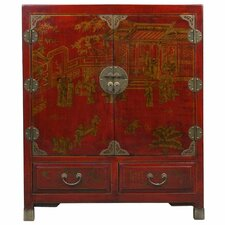 Handmade Oriental Antique Style Traditional Heirloom Red Bonded Leather Storage Cabinet