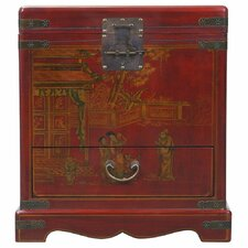 Handmade Oriental Antique Style Red Bonded Leather End Table / Storage Chest