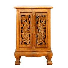 "Handmade 24"" Exotic Peacocks Storage Cabinet"